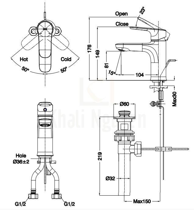 Bản Vẽ Vòi Chậu Lavabo Inax LFV-1402S Nóng Lạnh