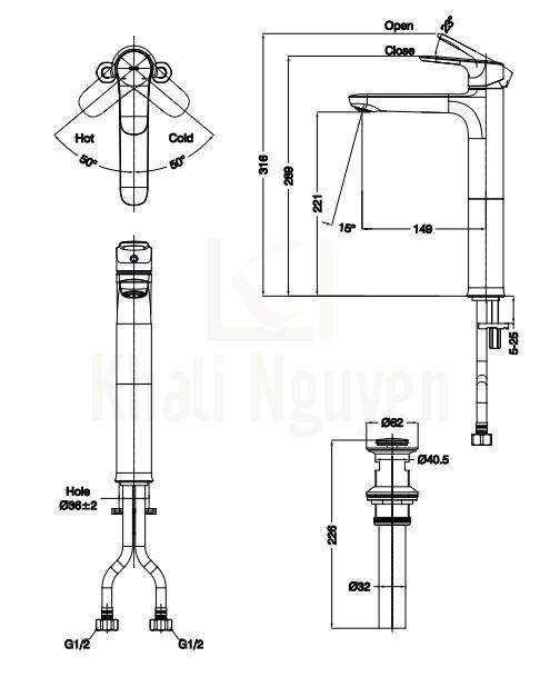 Bản Vẽ Vòi Lavabo Inax LFV-1402SH Nóng Lạnh Thân Cao