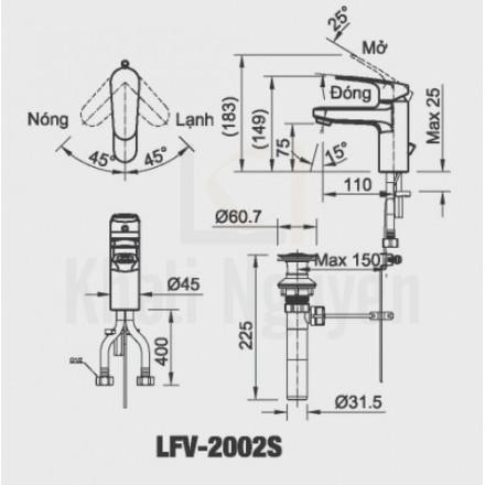 Bản vẽ kỹ thuật Inax LFV-2002S