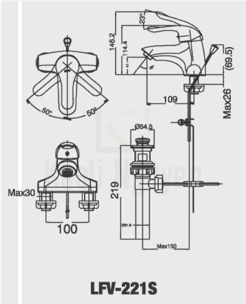 Bản vẽ kỹ thuật Inax LFV-221S