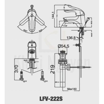 Bản vẽ kỹ thuật Inax LFV-222S