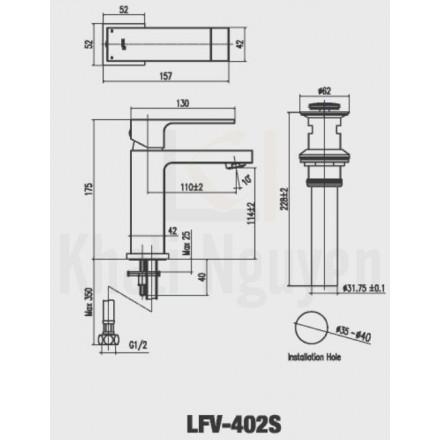 Bản vẽ kỹ thuật Inax LFV-402S