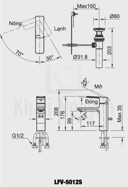 Bản vẽ kỹ thuật Inax LFV-5012S