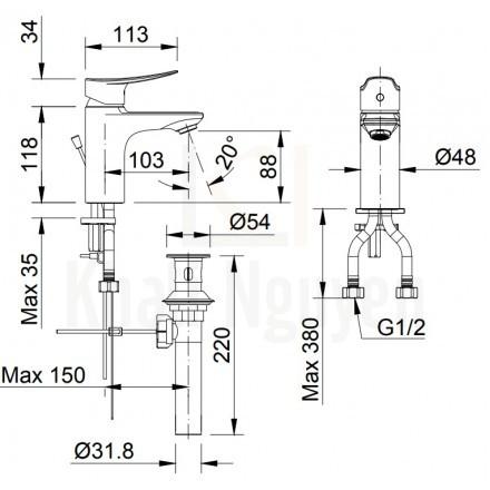 Bản vẽ kỹ thuật Inax LFV-502S