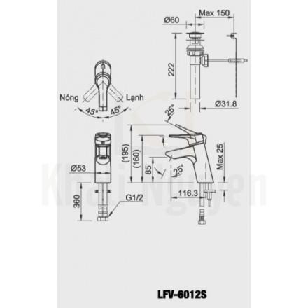 Bản vẽ kỹ thuật Inax LFV-6012S