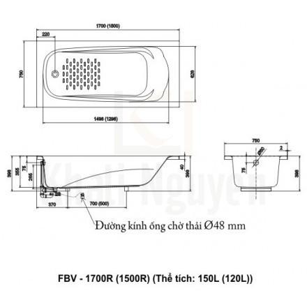 Bản vẻ kỹ thuật bồn tắm Ocean Inax FBV-1700R