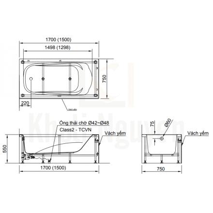 Bản vẻ kỹ thuật bồn tắm yếm Inax FBV-1702S