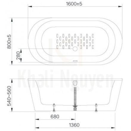 Bản vẻ kỹ thuật bồn tắm BF-1656 Lập Thể