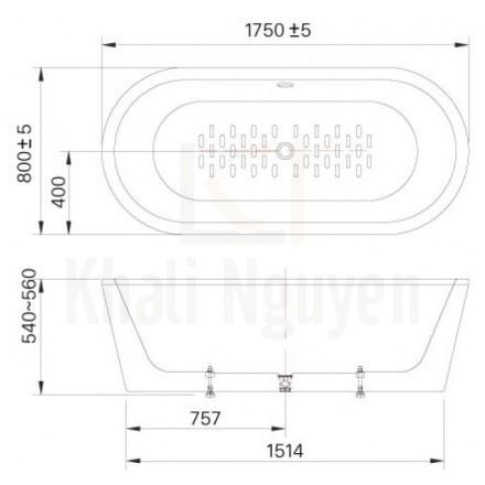 Bản vẻ kỹ thuật bồn tắm BF-1757V Lập Thể