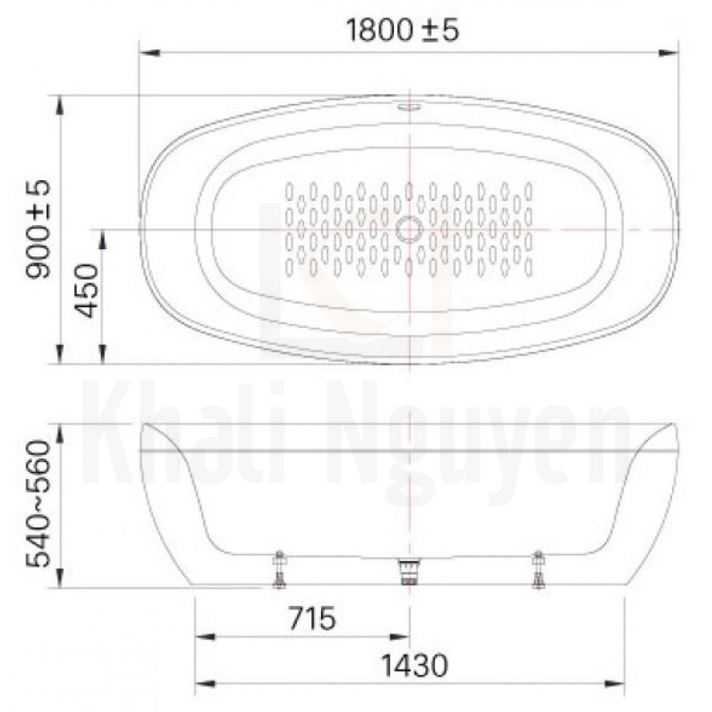 Bản vẻ kỹ thuật bồn tắm BF-1858V Lập Thể