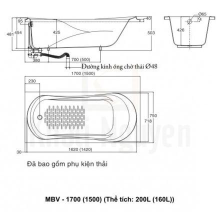 Bản vẻ kỹ thuật bồn tắm inax MBV-1500
