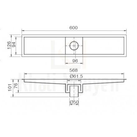 Bản vẽ kỹ thuật phễu thoát sàn Inax PBFV-600