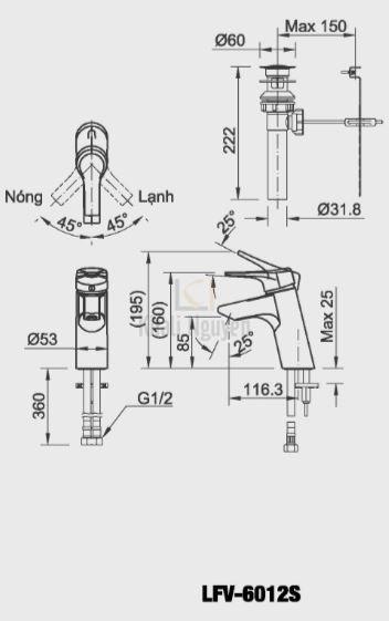 Vòi Chậu Lavabo Inax LFV-6012S Nóng Lạnh