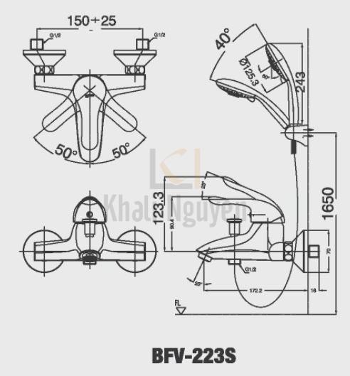 Vòi Sen Tắm Inax BFV-223S Nóng Lạnh Tay Sen Massage