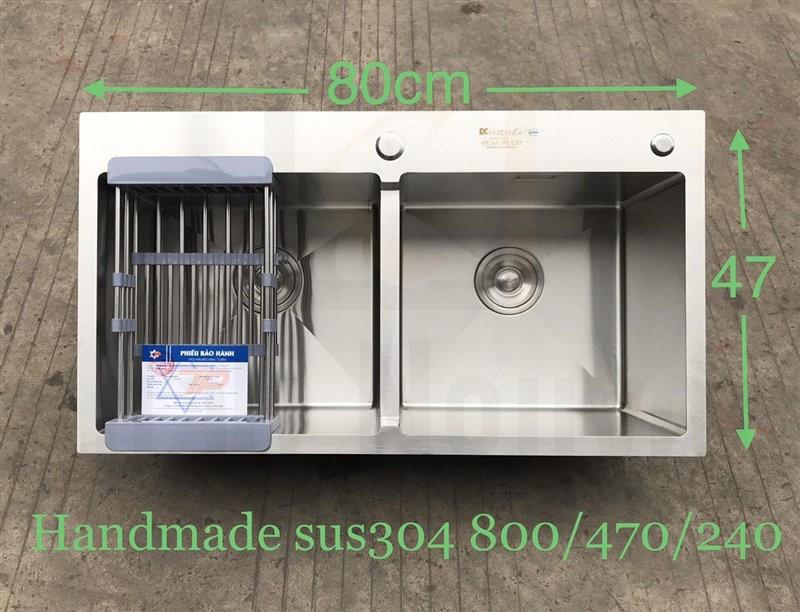 Chậu rửa bát handmade đúc cao cấp Kagol H8047- Cân 304