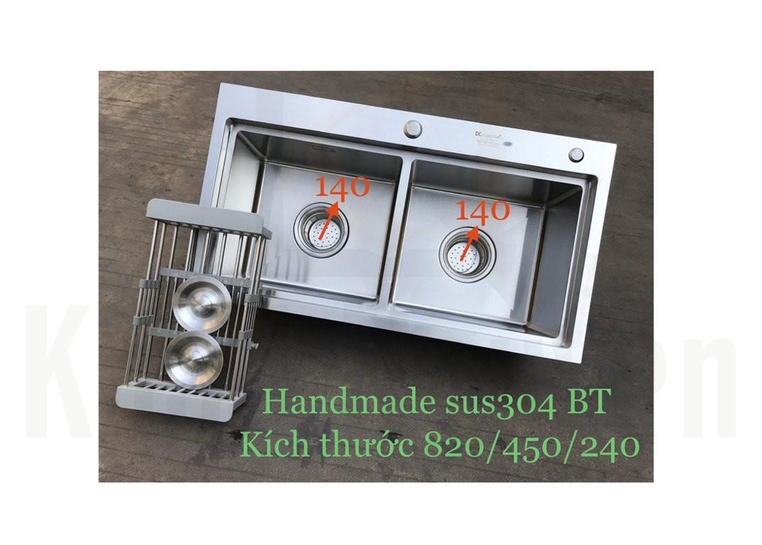 Chậu rửa bát handmade đúc Inox cao cấp Kagol H8245-BT can 304