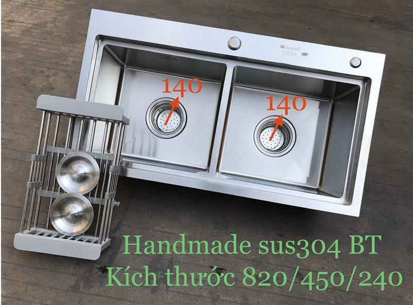 Chậu rửa bát handmade đúc cao cấp Kagol H8245-BT can 304