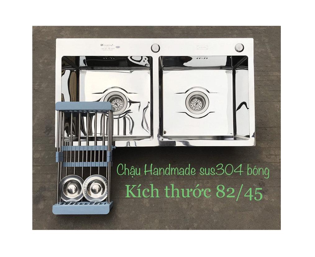 Chậu rửa bát handmade Inox đúc cao cấp Kagol H8245-Can 304 Bong