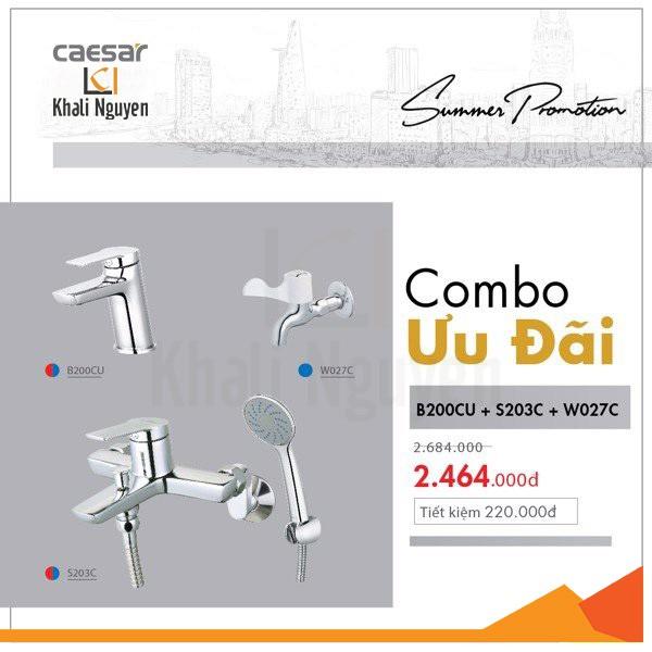 Combo KM vòi lavabo + sen tắm + vòi gắn tường Caesar- B200CU + S203C + W027C