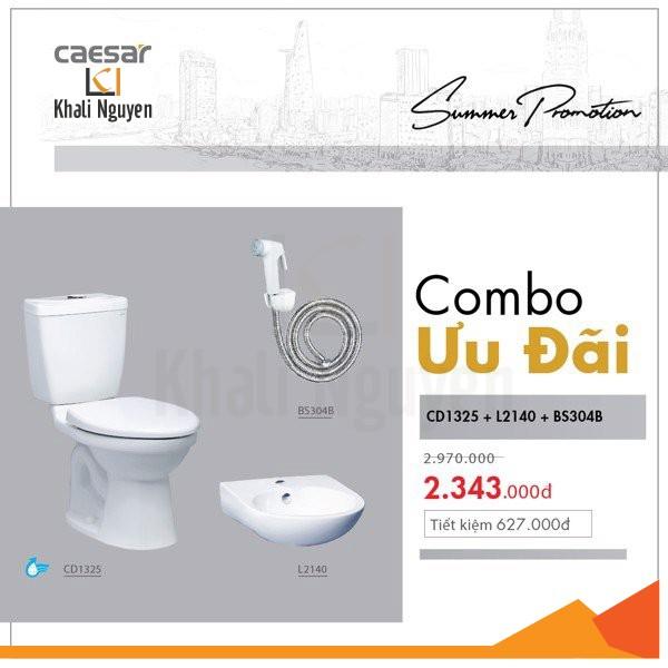 Combo KM bồn cầu + chậu lavabo + vòi xịt Caesar CD1325 + L2140 + BS304B