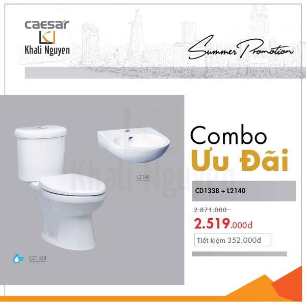 Combo KM bồn cầu + chậu lavabo Caesar CD1338+L2140