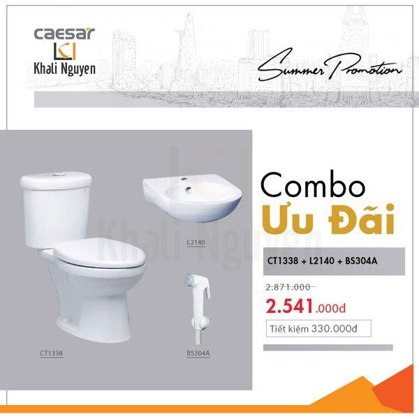 KM Combo bàn cầu kết hợp lavabo vòi xịt - CT1338+L2140+BS304A