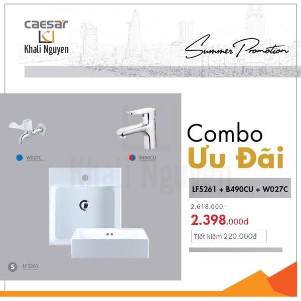 Combo KM chậu lavabo + Vòi lavabo N/L + Vòi lạnh gắn tường Caesar LF5261 + B490CU + W027C