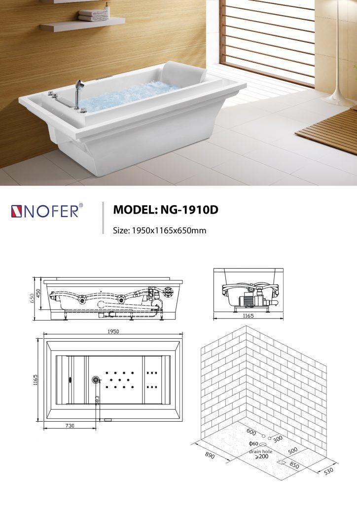 Sơ đồ kỹ thuật bồn tắm massage đặt sàn NG-1910D