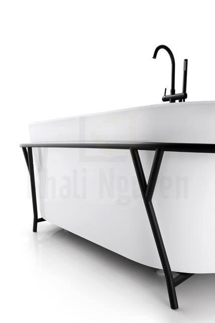 Bộ khung inox màu đen bao quanh bồn tắm NG-1891