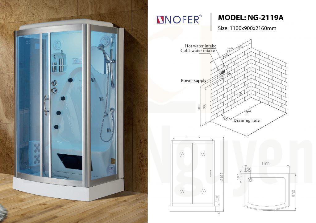 Bản vẽ sơ đồ kỹ thuật phòng xông hơi NG-2119A
