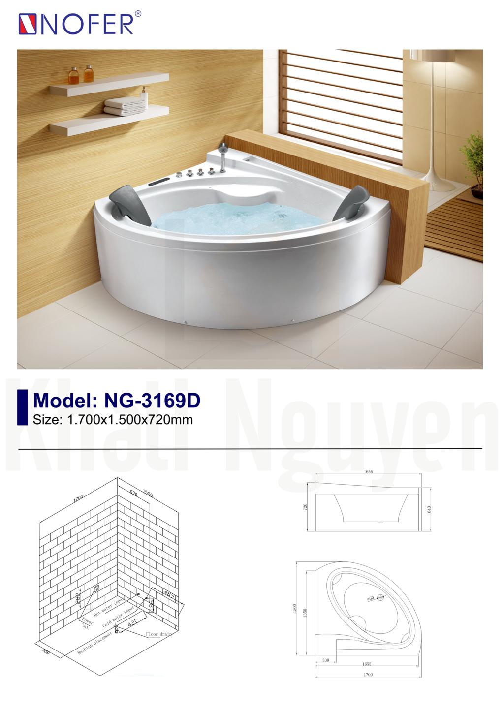 Sơ đồ điện nước bồn tắm massage NG-3169D
