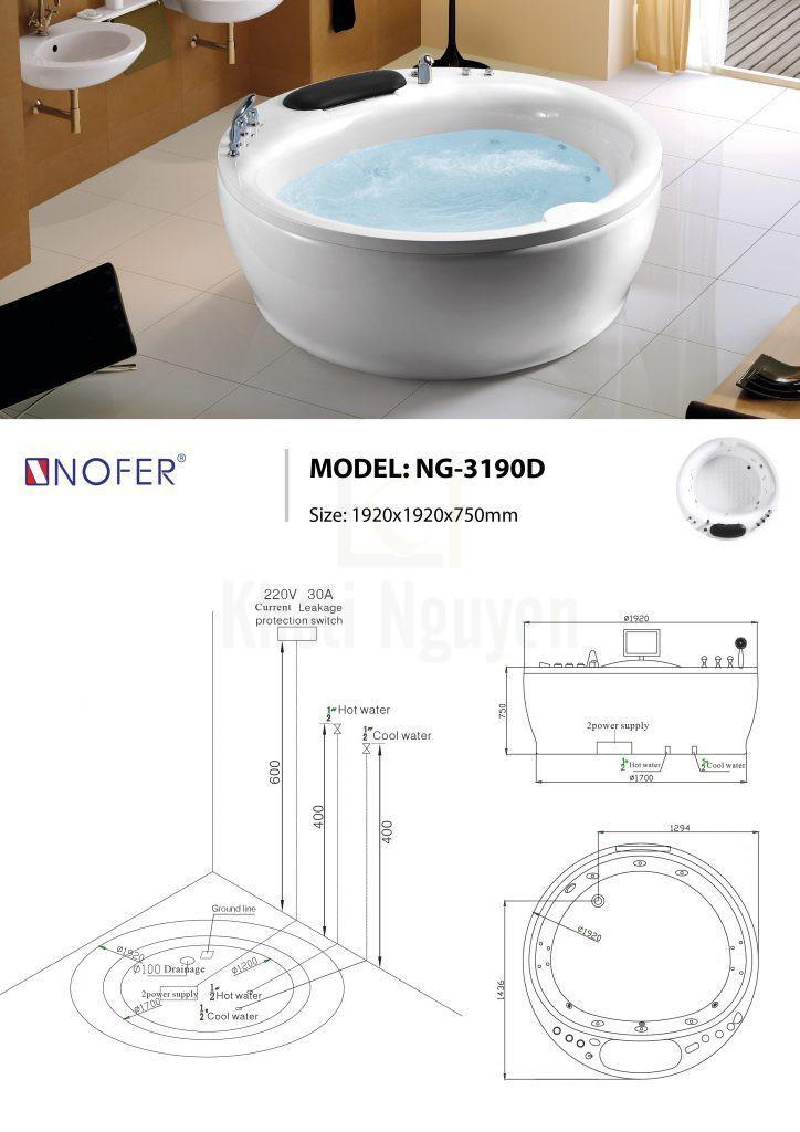 Sơ đồ kỹ thuật bồn tắm massage NG-3190D