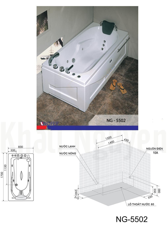 Bản vẽ kỹ thuật bồn tắm NG-5502L
