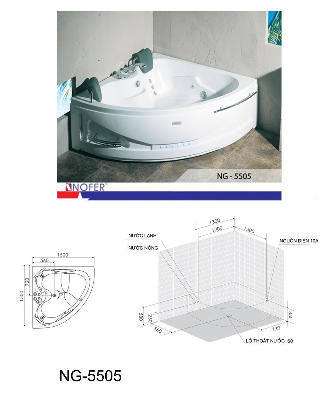 Bản vẽ kỹ thuật bồn tắm Massage NG-5505