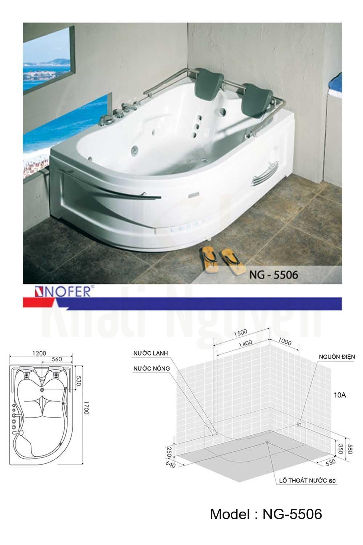 Bản vẽ kỹ thuật bồn tắm massage NG-5506L