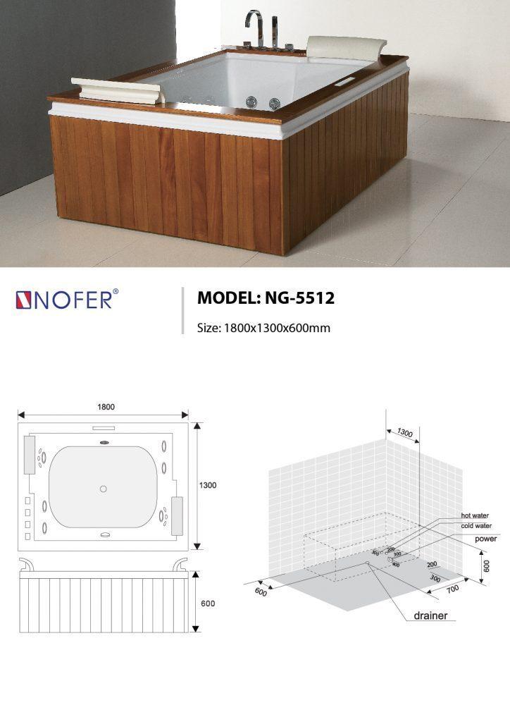 Bản vẽ kỹ thuật bồn tắm Massge NOFER NG-5512