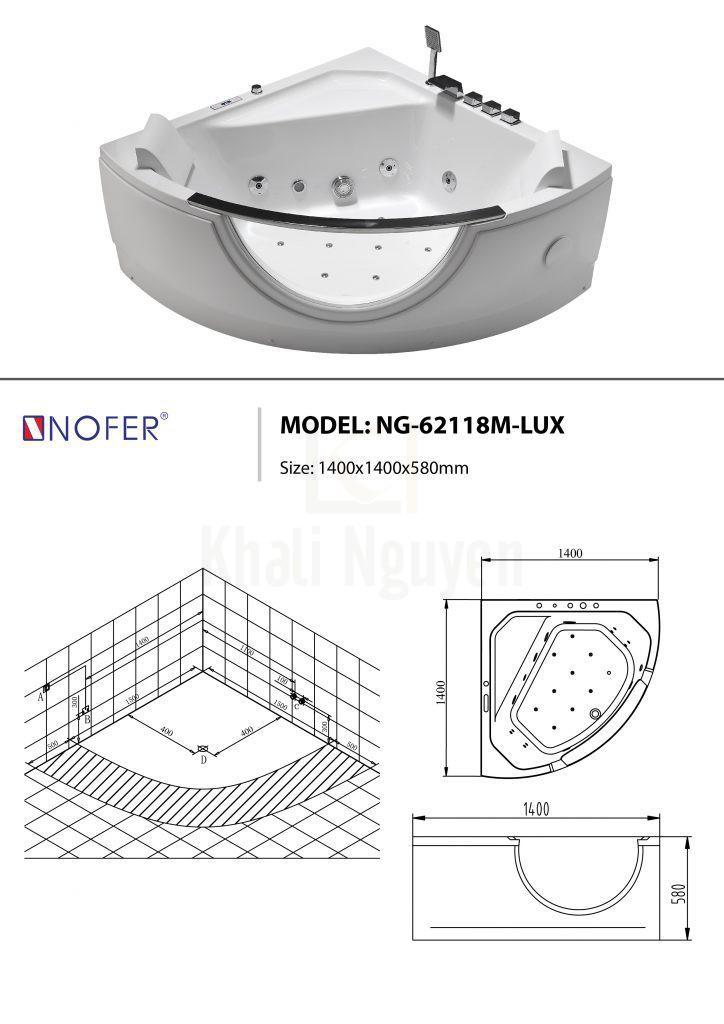 Sơ đồ kỹ thuật bồn tắm NG-62118M-LUX