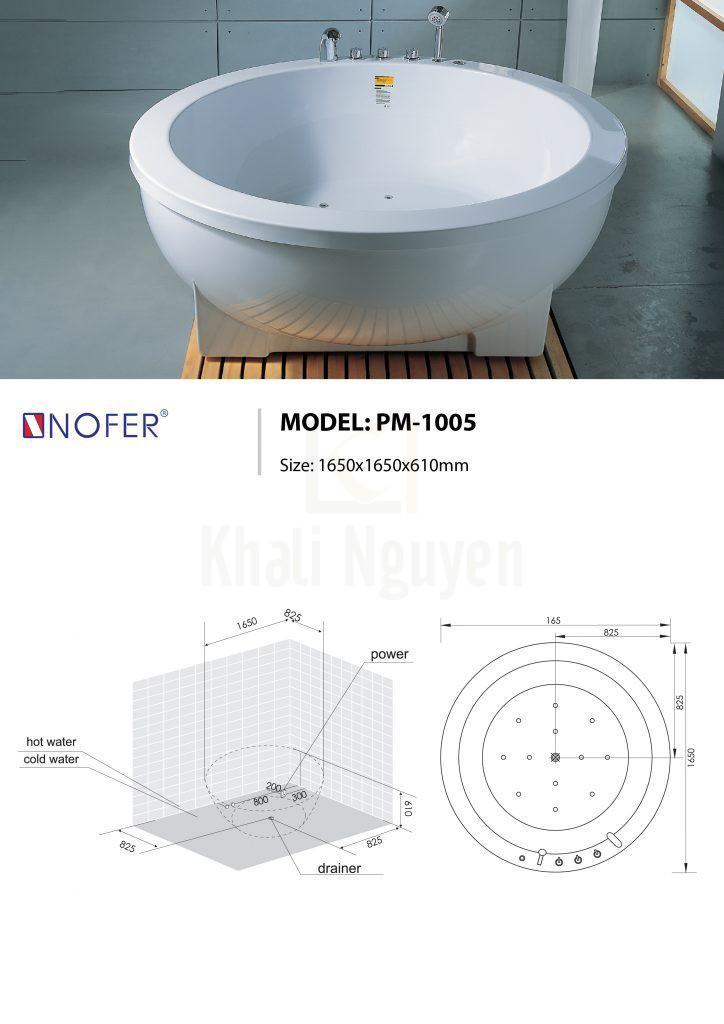 Bản vẽ kỹ thuật bồn tắm massage NOFER PM-1005