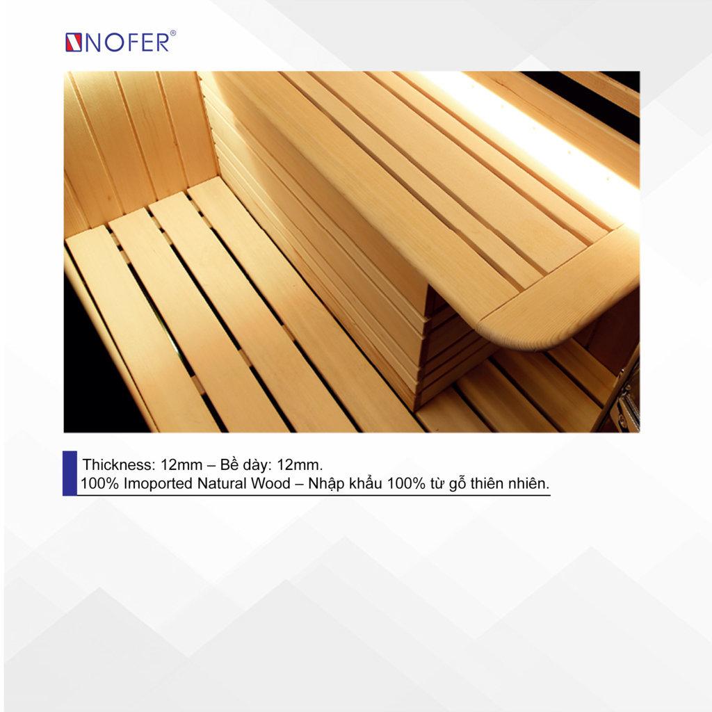 Phòng xông hơi SN-99100 sử dụng gỗ tự nhiên 100%