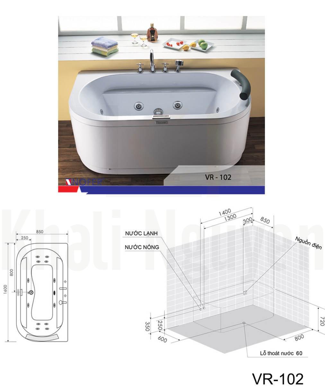Bản vẽ kỹ thuật bồn tắm VR-102