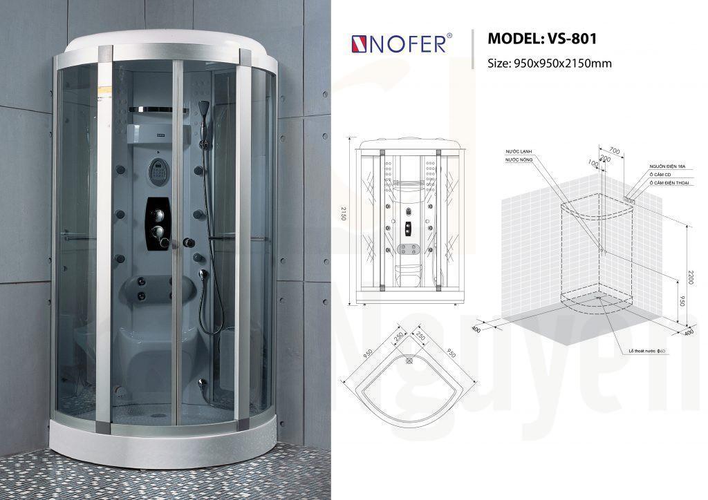 Bản vẽ kỹ thuật phòng xông hơi Nofer VS-801