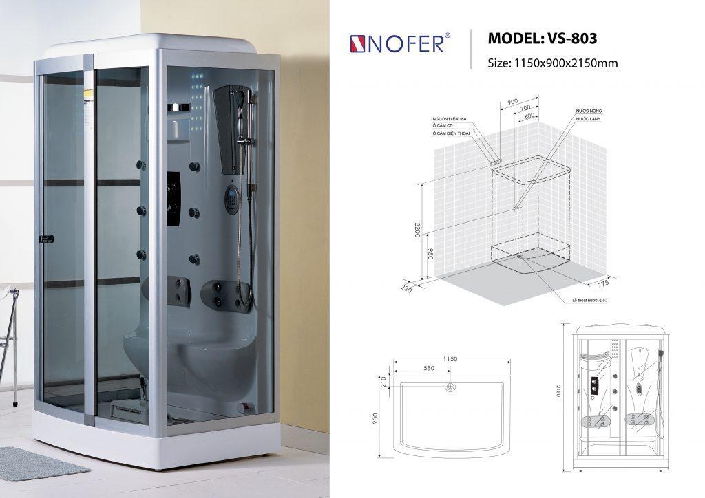 Bản vẽ kỹ thuật phòng xông hơi Nofer VS-803