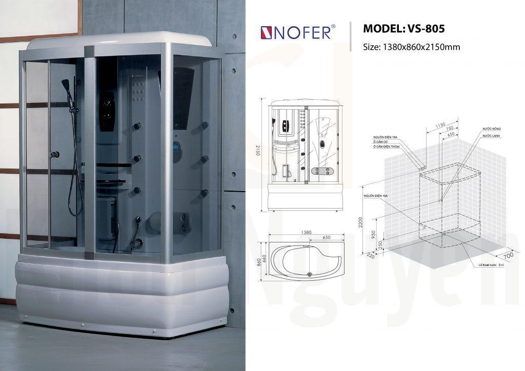 Bản vẽ kỹ thuật phòng xông hơi Nofer VS-805