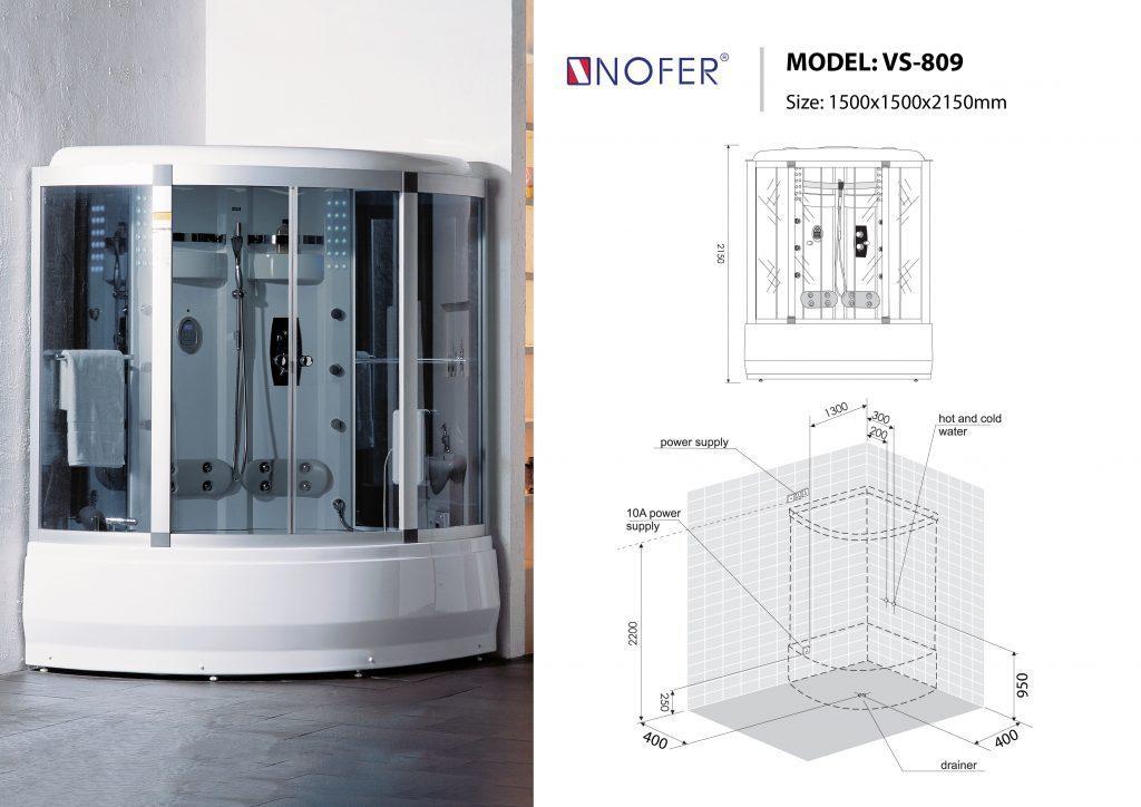 Bản vẽ kỹ thuật phòng xông hơi Nofer VS-809