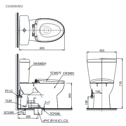 Bản Vẽ Bồn Cầu TOTO CS300DRE2 Hai Khối Nắp Cơ