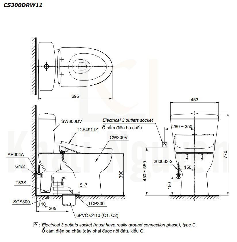 Bản Vẽ Bồn Cầu Hai Khối TOTO CS300DRW11 Nắp Rửa WASHLET