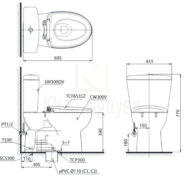 Bản Vẽ Bồn Cầu Điện Tử TOTO CS300DRW6 Nắp Rửa Washlet