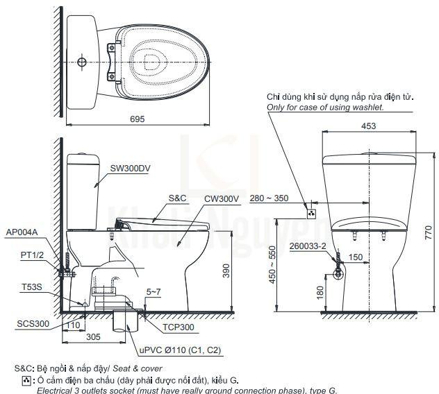 Bản Vẽ Bồn Cầu Điện Tử TOTO CS300DRW7 Nắp Rửa Washlet