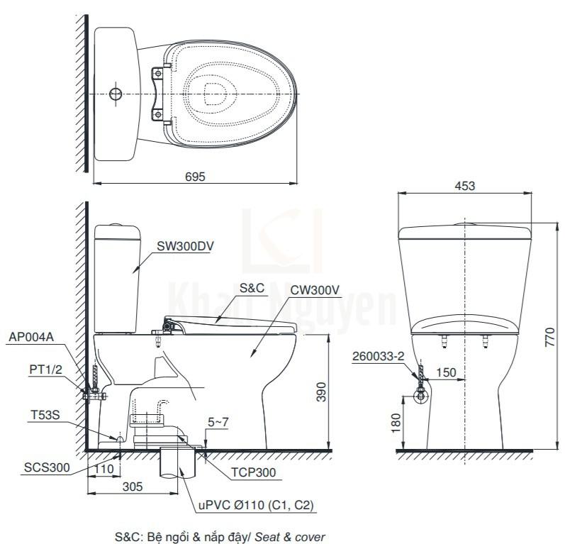 Bản Vẽ Bồn Cầu Hai Khối TOTO CS300DT3Y1 Nắp TC385VS