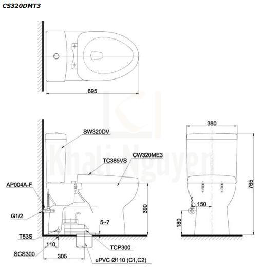 Bản Vẽ Bồn Cầu TOTO CS320DMT3 Hai Khối Nắp Đóng Êm TC385VS